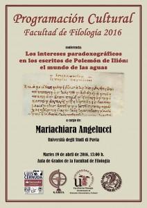 Programación Cultural de la Facultad (19 de abril): conferencia de la Prof. Angelucci (Università di Pavia)